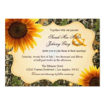 Small Camo And Orange Sunflower Wedding Invitations Front View