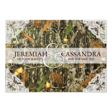 Small Camo And White Lace Wedding Invitations Front View