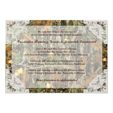 Small Camo And White Lace Wedding Invitations Back View