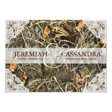 camo and white lace wedding invitations