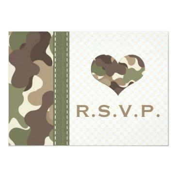 Small Camo Camouflage Heart Rsvp Response Invitation Front View