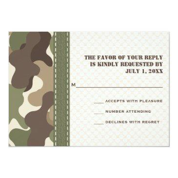 Small Camo Camouflage Heart Rsvp Response Invitation Back View