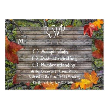 Small Camo Rustic Wood Fall Leaves Rsvp Wedding Front View