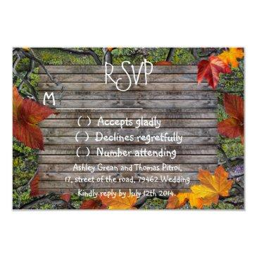 camo rustic wood fall leaves rsvp wedding