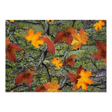 Small Camo Rustic Wood Fall Leaves Rsvp Wedding Back View
