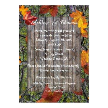 Small Camo Rustic Wood Fall Leaves Wedding Invitation Front View