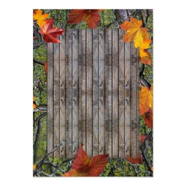 Small Camo Rustic Wood Fall Leaves Wedding Back View