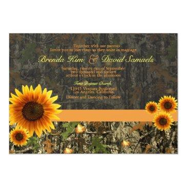 Small Camo Sunflowers Wedding Invitation Front View