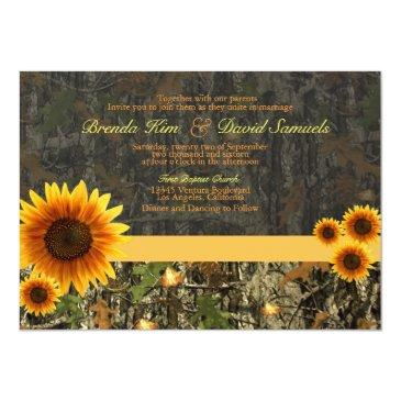 Small Camo Sunflowers Wedding Invitations Front View