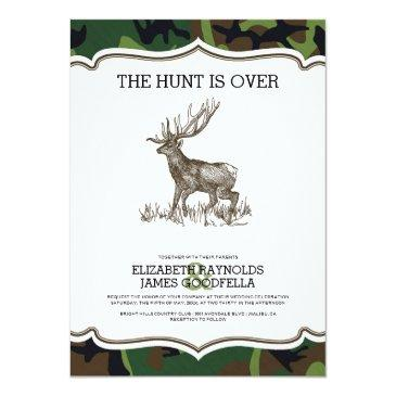 Small Camo The Hunt Is Over Wedding Invitation Front View