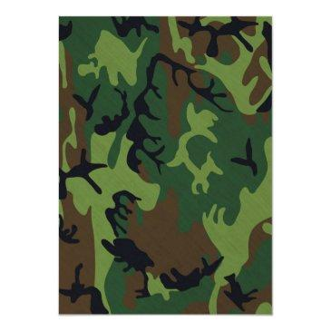Small Camo The Hunt Is Over Wedding Invitation Back View