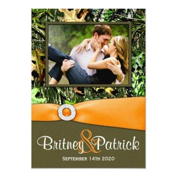Small Camouflage Orange Hunting Camo Wedding Invitationss Front View