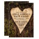 carved heart country rustic tree wedding invitation