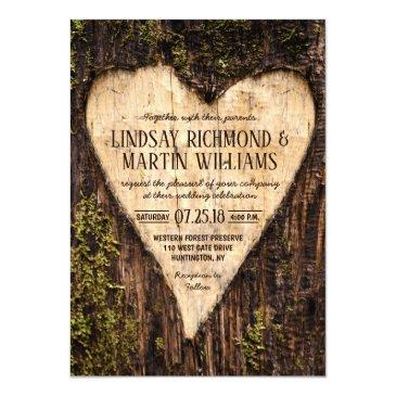 Small Carved Heart Country Rustic Tree Wedding Front View