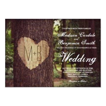 carved heart rustic tree wedding