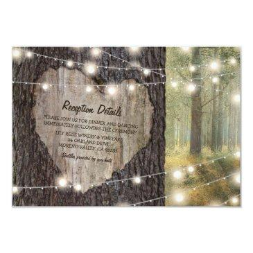 carved heart tree wedding   rustic string lights