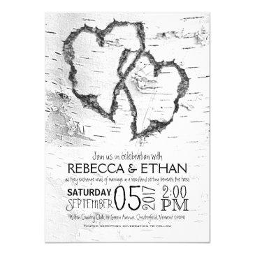 carved hearts white birch typography wedding