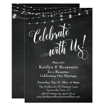 celebrate with us! chalkboard string lights invitations