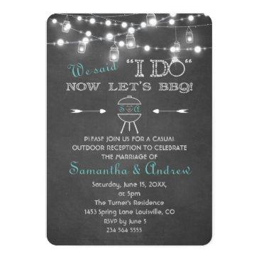 chalk mason jars string lights i do bbq invitation