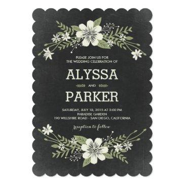 Small Chalkboard Blooms Wedding Invitation Front View