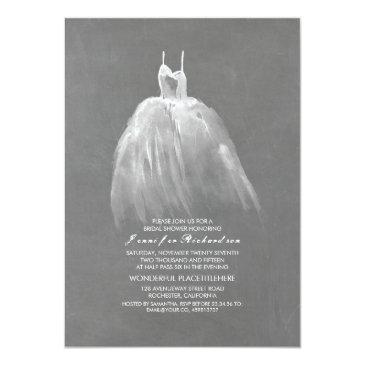 Small Chalkboard Bridal Shower Elegant Wedding Gown Invitationss Front View