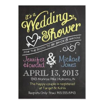 Small Chalkboard Couples Wedding Shower Invitation Front View