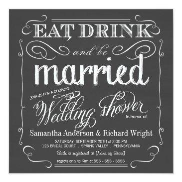 Small Chalkboard Couples Wedding Shower Invitationss Front View