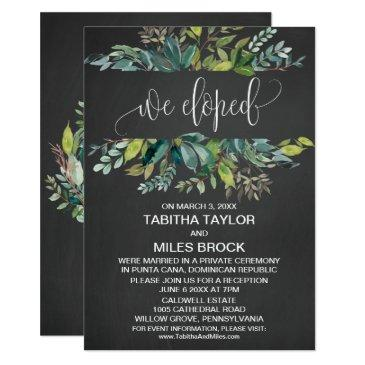 chalkboard foliage we eloped elopement reception