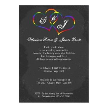 chalkboard gay pride rainbow heart doodle wedding