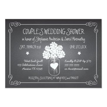 chalkboard mason jar rustic couples wedding shower invitations