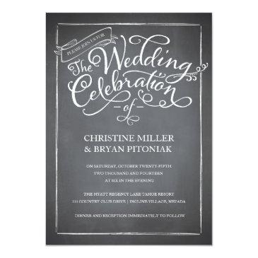 Small Chalkboard Script White Wedding Invitations Front View