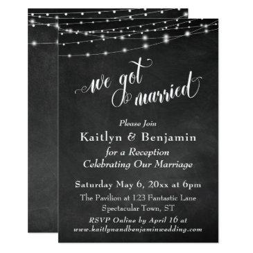 chalkboard string lights wedding reception only invitations