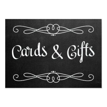 "chalkboard style "" and gifts"" wedding sign"