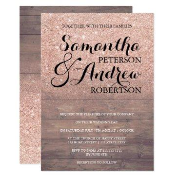 chic faux rose gold glitter rustic wood wedding