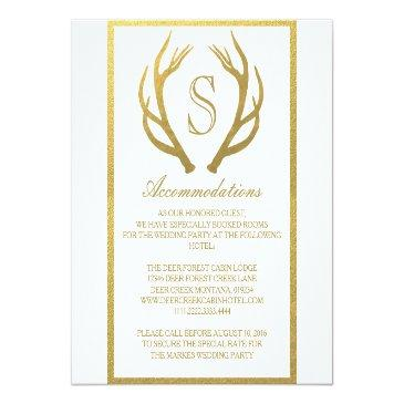 Small Chic Gold | Antler Wedding Accommodation Invitation Front View
