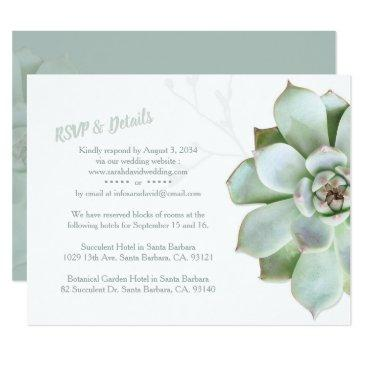 chic succulent wedding rsvp & accommodations