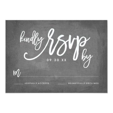 Small Chic Typography Chalkboard Wedding Rsvp Front View