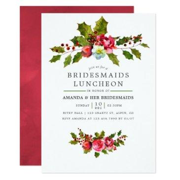 christmas bridesmaids luncheon holly invitations