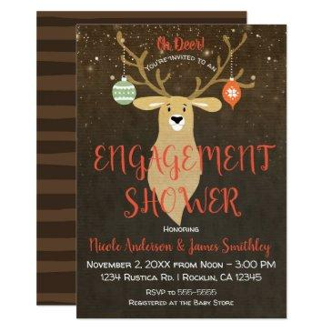 christmas holiday rustic deer engagement shower invitations