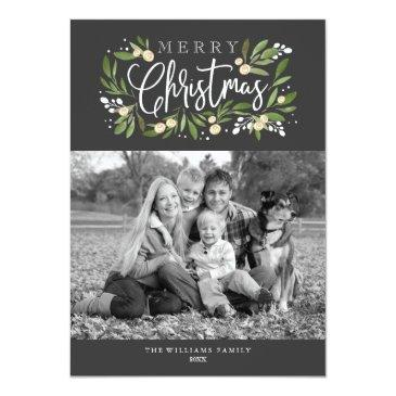 Small Christmas Holly-holiday Photo Invitation Front View