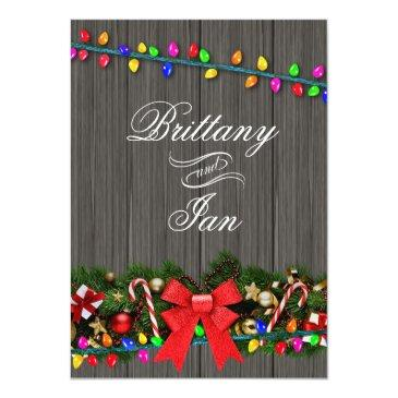christmas lights barn wood wedding | charcoal invitation