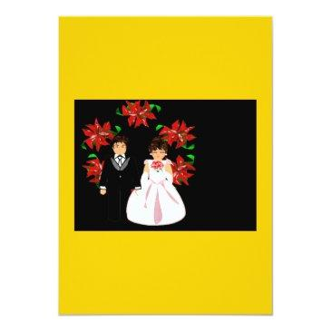 christmas wedding couple with wreath in gold white