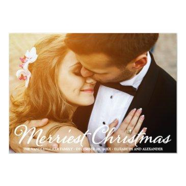 Small Christmas Wedding Photo Script Holidays Invitationss Front View
