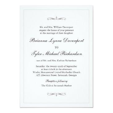 Small Classic Simple Elegance Wedding Invitation Front View