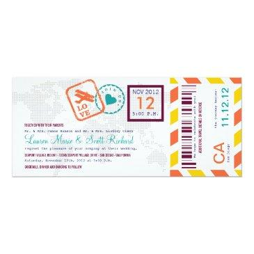 colorful boarding pass airmail ticket