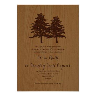 conifer trees on wood brown woodland wedding