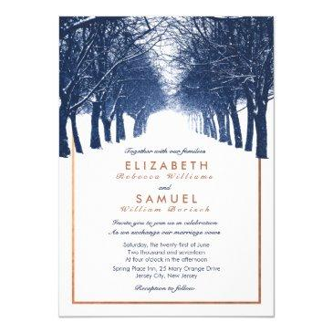 copper navy winter trees avenue wedding