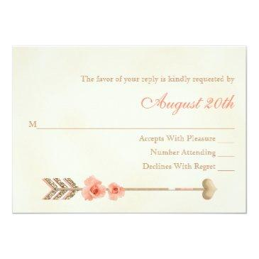Small Coral And Gold Boho Dreamcatcher Wedding Rsvp Invitationss Back View