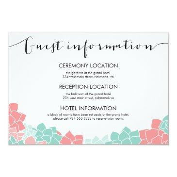 coral and mint flower wedding guest info invitationss