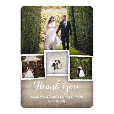 Small Country Burlap Wedding Photo Thank You Invitationss Front View